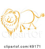 Royalty Free RF Clipart Illustration Of A Happy Orange Lion