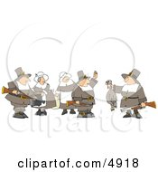 Pilgrim Woman Watching Pilgrim Bird Hunters With A Dead Turkey Clipart by djart