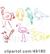 Royalty Free RF Clipart Illustration Of A Digital Collage Of Colorful Bird Outlines by Prawny