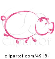 Royalty Free RF Clipart Illustration Of A Pink Pig Profile by Prawny