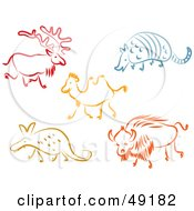 Royalty Free RF Clipart Illustration Of A Digital Collage Of A Reindeer Armadillo Camel Aardvark And Bull