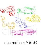 Digital Collage Of A Chameleon Crocodile Snake Lizard Turtle And Salamander