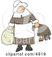 Elderly Pilgrim Woman Carrying A Dead Turkey By Its Neck