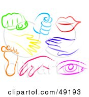 Royalty Free RF Clipart Illustration Of A Digital Collage Of Colorful Hands Fists Lips Feet And Eyes by Prawny