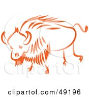 Royalty Free RF Clipart Illustration Of An Orange Ox by Prawny