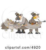 Humorous Pilgrim Women Armed With Turkey Bird Hunting Musket Guns Clipart