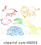 Royalty Free RF Clipart Illustration Of A Digital Collage Of An Antelope Lion Pig Hedgehog Porcupine And Giraffe