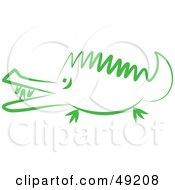 Royalty Free RF Clipart Illustration Of A Green Crocodile