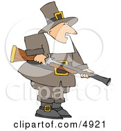 Pilgrim Man Hunting For Wild Turkey - Thanksgiving Clipart