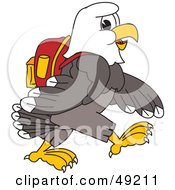 Royalty Free RF Clipart Illustration Of A Bald Eagle Character Walking And Wearing A Backpack by Toons4Biz