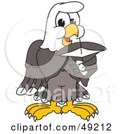 Royalty Free RF Clipart Illustration Of A Bald Eagle Character Holding A Shark Tooth by Toons4Biz