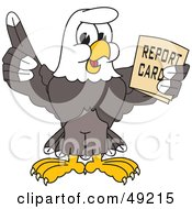 Bald Eagle Character Holding A Report Card