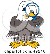 Royalty Free RF Clipart Illustration Of A Bald Eagle Character Using A Magnifying Glass by Toons4Biz
