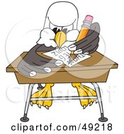 Royalty Free RF Clipart Illustration Of A Bald Eagle Character Student Taking A Quiz by Toons4Biz