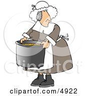 Elderly Obese Pilgrim Woman Cooking With A Metal Kitchen Pot Clipart by djart