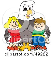 Royalty Free RF Clipart Illustration Of A Bald Eagle Character With Children