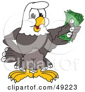 Royalty Free RF Clipart Illustration Of A Bald Eagle Character Holding Cash by Toons4Biz
