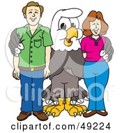 Royalty Free RF Clipart Illustration Of A Bald Eagle Character With Adults by Toons4Biz