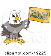 Royalty Free RF Clipart Illustration Of A Bald Eagle Character Waving A Flag by Toons4Biz