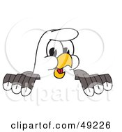 Royalty Free RF Clipart Illustration Of A Bald Eagle Character Looking Over A Surface by Toons4Biz