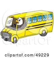 Royalty Free RF Clipart Illustration Of A Bald Eagle Character Driving A Bus
