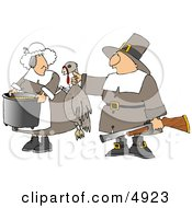 Male Pilgrim Hunter Holding Up A Dead Turkey For His Wife To Cook Clipart