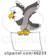 Royalty Free RF Clipart Illustration Of A Bald Eagle Character Flying A Sign by Toons4Biz