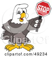 Royalty Free RF Clipart Illustration Of A Bald Eagle Character Holding A Stop Sign by Toons4Biz