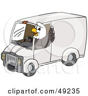Royalty Free RF Clipart Illustration Of A Bald Eagle Character Driving A Delivery Van by Toons4Biz