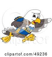Bald Eagle Character Playing Football