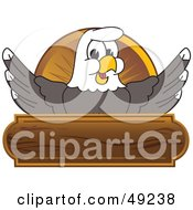 Royalty Free RF Clipart Illustration Of A Bald Eagle Character Wooden Logo by Toons4Biz