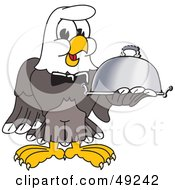 Royalty Free RF Clipart Illustration Of A Bald Eagle Character Serving A Platter by Toons4Biz