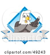 Royalty Free RF Clipart Illustration Of A Bald Eagle Character Diamond And Banner Logo by Toons4Biz