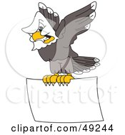 Royalty Free RF Clipart Illustration Of An Aggressive Bald Eagle Character Flying A Sign by Toons4Biz