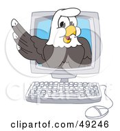 Royalty Free RF Clipart Illustration Of A Bald Eagle Character In A Computer by Toons4Biz