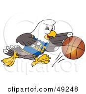 Bald Eagle Character Dribbling A Basketball
