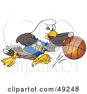 Royalty Free RF Clipart Illustration Of A Bald Eagle Character Dribbling A Basketball