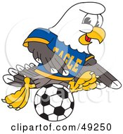 Royalty Free RF Clipart Illustration Of A Bald Eagle Character Playing Soccer by Toons4Biz
