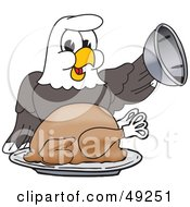 Royalty Free RF Clipart Illustration Of A Bald Eagle Character Serving Thanksgiving Turkey by Toons4Biz