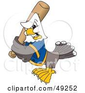Bald Eagle Character Holding A Baseball Bat