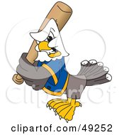 Royalty Free RF Clipart Illustration Of A Bald Eagle Character Holding A Baseball Bat by Toons4Biz