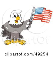Royalty Free RF Clipart Illustration Of A Bald Eagle Character Waving An American Flag by Toons4Biz