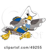 Royalty Free RF Clipart Illustration Of A Bald Eagle Character Running In A Football Game by Toons4Biz