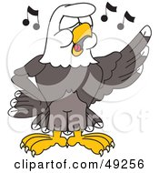 Royalty Free RF Clipart Illustration Of A Bald Eagle Character Singing In Choir