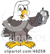 Royalty Free RF Clipart Illustration Of A Bald Eagle Character Holding A Cell Phone by Toons4Biz