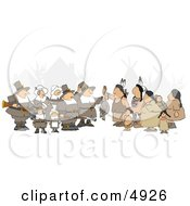 Unpredictable Group Of Pilgrims Offering A Dead Turkey To Indians Clipart