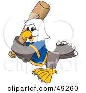 Royalty Free RF Clipart Illustration Of A Bald Eagle Character Playing Baseball by Toons4Biz