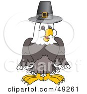 Bald Eagle Character Wearing A Pilgrim Hat by Toons4Biz