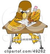 Hawk Mascot Character Taking A Quiz
