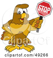 Hawk Mascot Character Holding A Stop Sign
